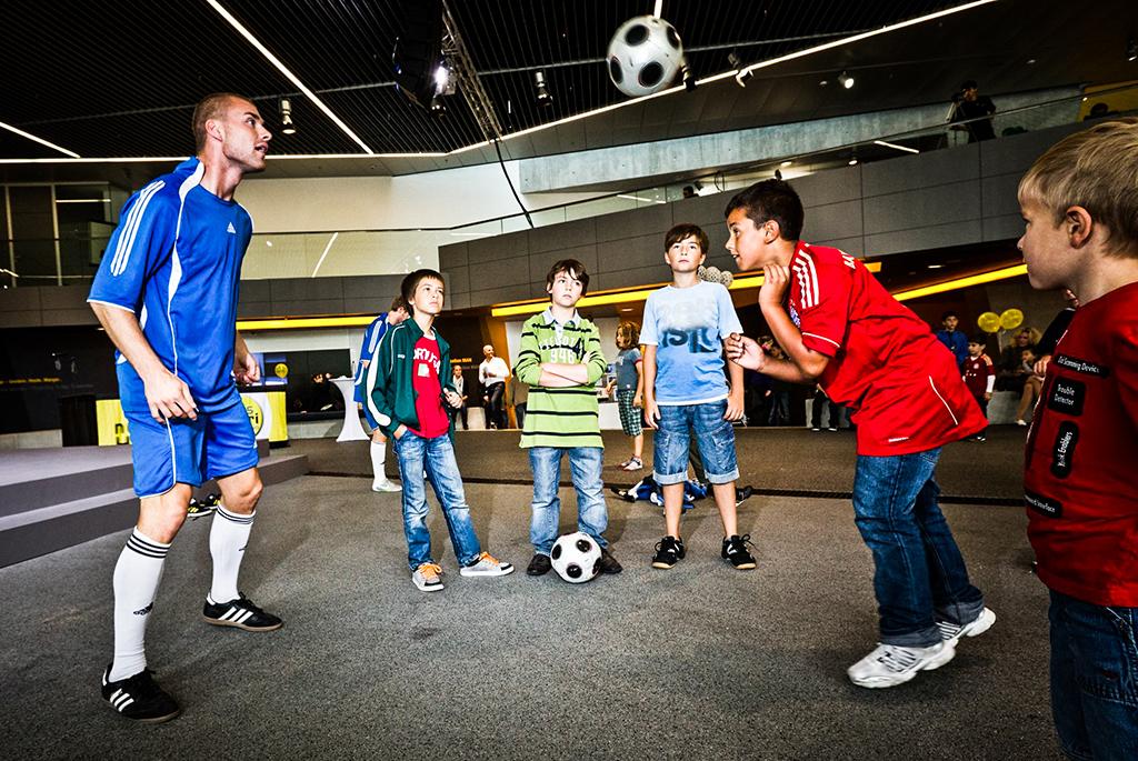 Fussballshow mit Fussballartisten